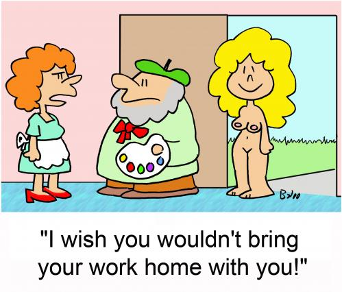 Cartoon: Work home with you (medium) by rmay tagged artist,nude,model,work,hom