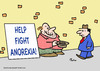 Cartoon: anorexia help fight panhandler (small) by rmay tagged anorexia,help,fight,panhandler