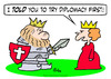 Cartoon: armor king try diplomacy queen (small) by rmay tagged armor,king,try,diplomacy,queen