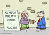 Cartoon: economy stimulate panhandler (small) by rmay tagged economy,stimulate,panhandler